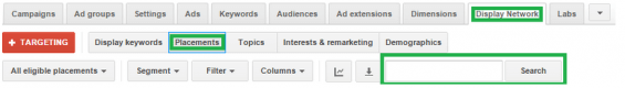 Adwords display network placement search box